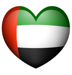 Arab emirates flag in heart shape icon vector