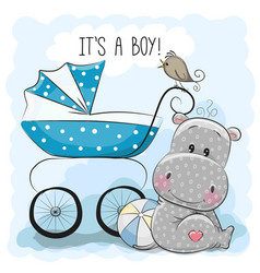Baby carriage and hippo vector