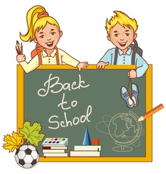 Cartoon schoolgirl and schoolboy at the blackboard vector image