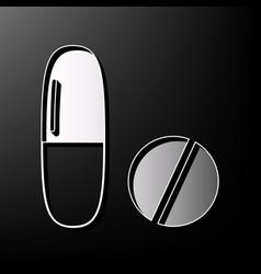Medical pills sign  gray 3d printed icon vector
