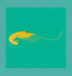 Flat shading style sea shrimp vector