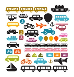Transportation icons isolated on white background vector