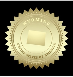 Gold star label wyoming vector