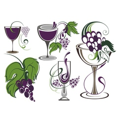 Set of icons for wine wineries restaurants vector