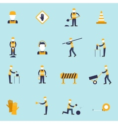 Road worker flat icon vector
