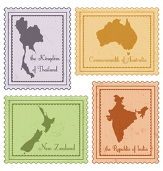 Set of vintage stamps vector