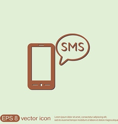 Smartphone with cloud of sms dialogue vector