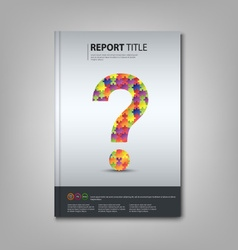 Brochures book or flyer with colored puzzle vector