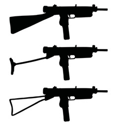 Old short automatic guns vector