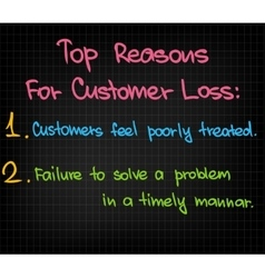 Top reasons to customer loss vector