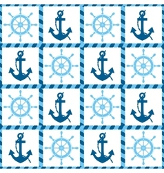 Seamless pattern of sea anchors and helm vector