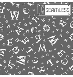 Seamless vintage pattern with white curved letters vector