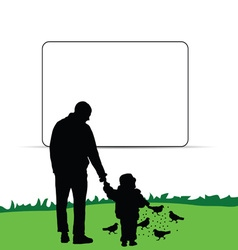 Child with father in nature vector