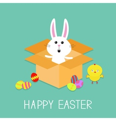 Happy easter cute bunny rabbit chicken and eggs vector