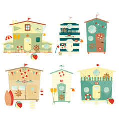 Beach Huts on Seafront Set Isolated vector image