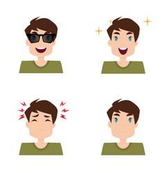 Boy expression faces vector