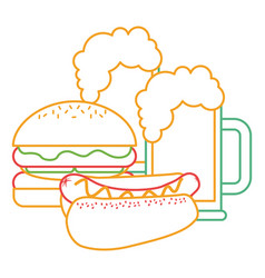 Burger and hot dog with two beer vector