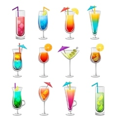 Classic alcohol cocktails set vector