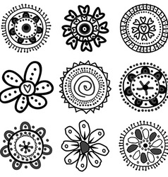 Collection of doodle flowers vector image vector image