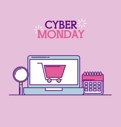 cyber monday laptop shopping cart calendar vector image
