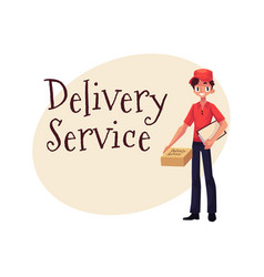 Delivery service banner with courier standing with vector