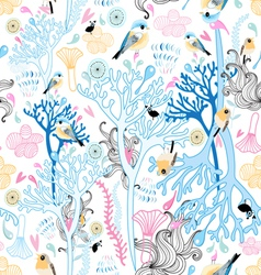 floral pattern with birds vector image