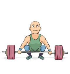 Funny cartoon weightlifter vector