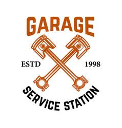 Garage service station emblem with crossed vector