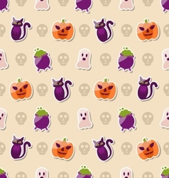 Halloween Seamless Texture with Colorful Flat vector image