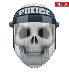 Human skull with police protect mask on vector