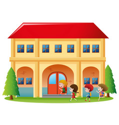 Kids going into the building vector