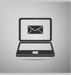 laptop with envelope and open email on screen icon vector image vector image