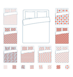 Linen and bedding duvet textile patterns vector