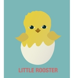 Little rooster cock chicken flat simple icon vector