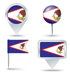 Map pins with flag of american samoa vector