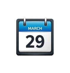 March 29 calendar icon flat vector