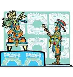 Mayan king and warrior vector