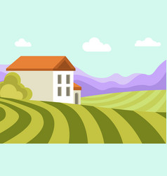 neat small house among wide green fields and high vector image vector image