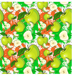 seamless pattern green apples fruits summer vector image