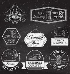 set of linear chalk badges labels logo templates vector image vector image