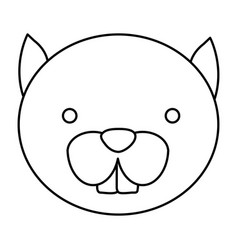 silhouette caricature face cute chipmunk animal vector image