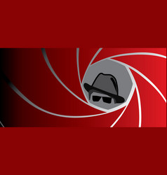 Spy agent gangster or detective in fedora hat vector