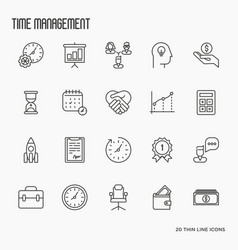 Time management thin line icons vector