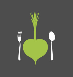 vegetarian food logo vegetable and cutlery fork vector image vector image