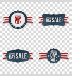 Veterans day labels set vector