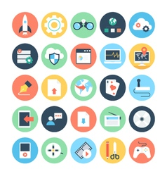 Web and networking flat icons 3 vector