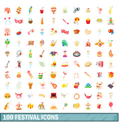 100 festival icons set cartoon style vector