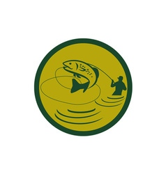 Trout jumping fly fisherman circle retro vector