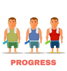 Cartoon guy fit progress after work out with towel vector