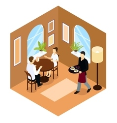Waiter service isometric composition vector